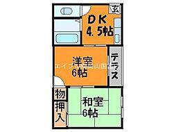 岡山県岡山市東区瀬戸町万富の賃貸アパートの間取り