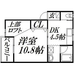 静岡県浜松市中区高丘東4の賃貸アパートの間取り