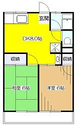 東京都東大和市狭山4丁目の賃貸アパートの間取り
