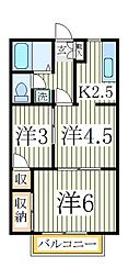 つくし野ビューハイム[2階]の間取り