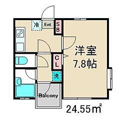 サーハンハウス中葛西 3階1Kの間取り