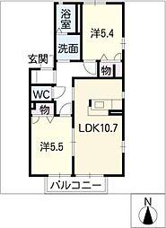 ラフィネ千代田A棟[2階]の間取り