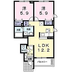 栃木県真岡市亀山の賃貸アパートの間取り