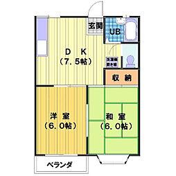 埼玉県川越市脇田本町の賃貸アパートの間取り