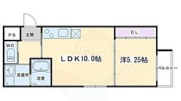 フォルトゥーナ毘沙門町 2階1LDKの間取り