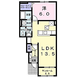 JR中央本線 竜王駅 バス16分 JA玉幡支所下車 徒歩12分の賃貸アパート 1階1LDKの間取り