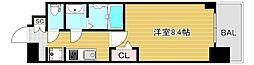 プレサンス心斎橋ソレイユ 11階1Kの間取り