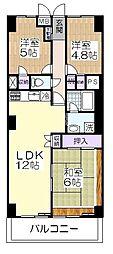 草加松原ハイツB棟[9階]の間取り