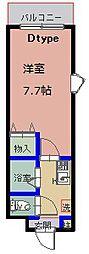 ウェルフェアーII 3階1Kの間取り