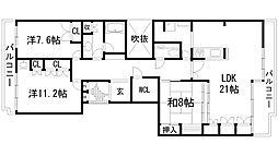 兵庫県宝塚市野上5丁目の賃貸マンションの間取り