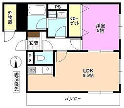 長野県松本市城西1丁目の賃貸マンションの間取り