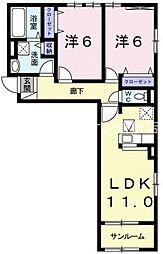 井原鉄道 川辺宿駅 徒歩17分の賃貸アパート 1階2LDKの間取り