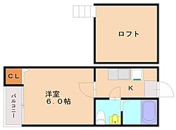 福岡県福岡市南区高木1丁目の賃貸アパートの間取り
