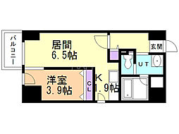 LEE東札幌A棟 4階1LDKの間取り