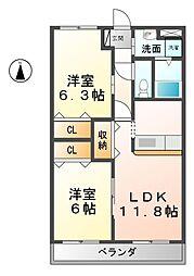 愛知県清須市朝日弥生丁目の賃貸マンションの間取り