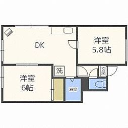 北海道札幌市厚別区青葉町13丁目の賃貸アパートの間取り