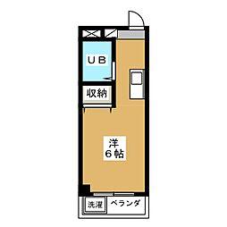 ヤエネ細田 3階ワンルームの間取り