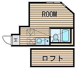 神奈川県横浜市鶴見区向井町3丁目の賃貸アパートの間取り