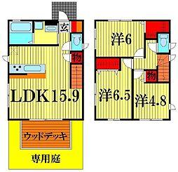 [一戸建] 埼玉県越谷市東越谷8丁目 の賃貸【/】の間取り