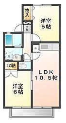 滋賀県大津市真野5丁目の賃貸アパートの間取り