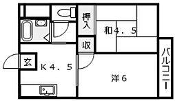 広島県廿日市市須賀の賃貸アパートの間取り