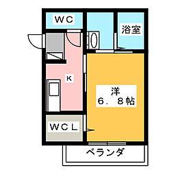 ジュネス東静岡 1階1Kの間取り