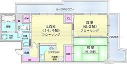 仙台市営南北線 北四番丁駅 徒歩13分の賃貸マンション 5階2LDKの間取り