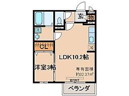 京都府京都市山科区勧修寺東堂田町の賃貸アパートの間取り