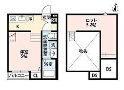 MAISON HEUREUX(メゾンウルフル) 2階ワンルームの間取り