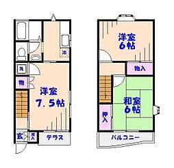 [テラスハウス] 千葉県松戸市三矢小台2丁目 の賃貸【/】の間取り