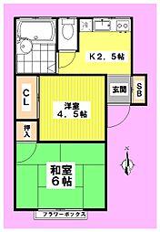 山田第3ハウス[102号室]の間取り