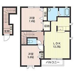 ジナンドモルフB[2階]の間取り
