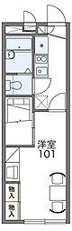 近鉄長野線 滝谷不動駅 徒歩3分の賃貸アパート 2階1Kの間取り