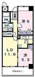 大阪府八尾市小畑町4丁目の賃貸マンションの間取り