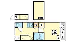 神戸市西神・山手線 上沢駅 徒歩5分の賃貸アパート 2階1Kの間取り