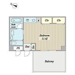 プロシードCO-Z西館 1階ワンルームの間取り