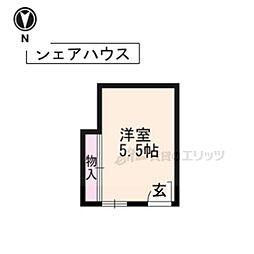 京都市営烏丸線 五条駅 徒歩6分の賃貸マンション 3階ワンルームの間取り