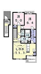 愛媛県松山市居相4丁目の賃貸アパートの間取り
