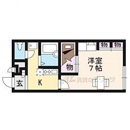 京阪宇治線 六地蔵駅 徒歩4分の賃貸アパート 2階1Kの間取り