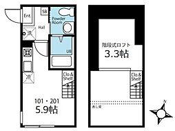 ハーミットクラブハウス横濱三ツ沢 2階ワンルームの間取り