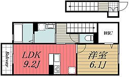 JR総武本線 東千葉駅 徒歩20分の賃貸アパート 2階1LDKの間取り