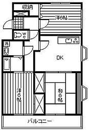 アトリオ城ケ崎[202号室]の間取り