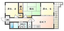 センチュリー壱番館 1階3DKの間取り