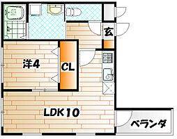 福岡県北九州市戸畑区幸町の賃貸アパートの間取り