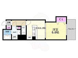 京都市営烏丸線 京都駅 徒歩8分の賃貸マンション 2階1DKの間取り