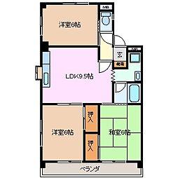 ソシアルドミール東館[3階]の間取り