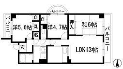 グレース門戸荘[3階]の間取り