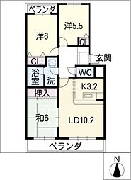 シャンブルクレール[1階]の間取り
