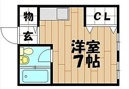 大阪府東大阪市御厨東2丁目の賃貸アパートの間取り