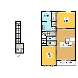 仮)D−room瑞浪市松ヶ瀬町4丁目 A棟[2階]の間取り